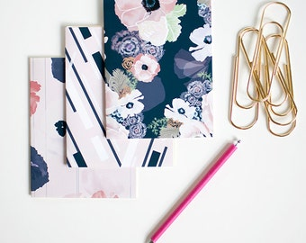 UNE FEMME mini blank notebook jotter three pack