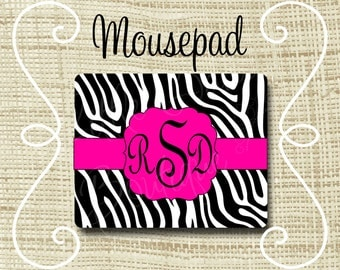 Custom Personalized Mousepad Mouse Pad Zebra Hot Pink & Black or Any Color(s)