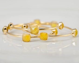 Bangles - Yellow Chalcedony Bangles -  Yellow Bangles - Gemstone Bangles - Stacking Bangles - Gold Bangle
