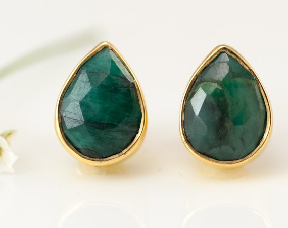 Raw Emerald Stud Earrings May Birthstone Studs Gemstone