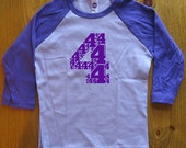 Birthday Shirt - 4 Year Old Shirt - 4th Birthday - Age Four - 4th Birthday Tee Birthday Party Boy / Girl - Long 3/4 Sleeved - Gift Friendly