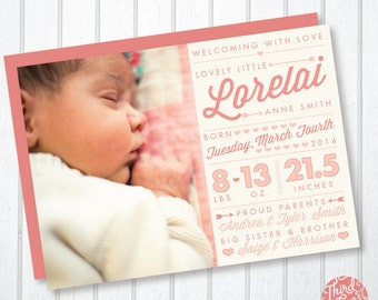 Cupid's Bow Baby Girl Birth Announcement