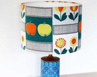 Vintage Fabric Lampshade, Retro 1950's Fabric, Handmade, Small Size, Apples & Pears Design
