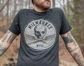 Milwaukee Wisconsin Skull and Cross Arrows T Shirt. Vintage Style Soft Black Unisex Men's Slim Fit and Women's Tee