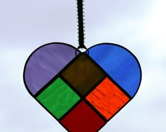 Colors of the Rainbow Stained Glass Heart Suncatcher
