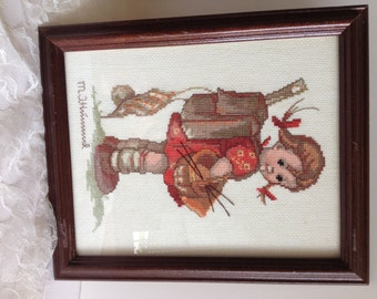 Hummel Cross Stitch - 'School Mates - School Girl' - Home Decor - Nursery - Collectible Shabby Chic Nostalgia