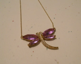 Purple Dragonfly Pendant Choker Necklace - Purple Glass Wings with Goldtone Body and Antennae on Delicate Chain