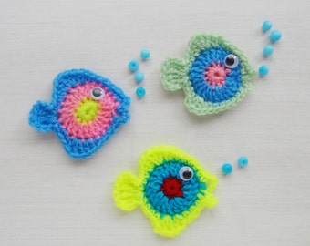 Crochet applique pattern PDF fish or baby mobile wall decor - Photo tutorial - crochet sea applique colorful fishes -  Instant DOWNLOAD