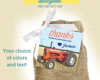 Tractor Birthday Farm Favor Tags  - Printable - Orange/Red, Green or Peach & Mint