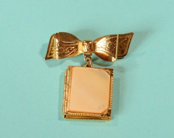 Vintage 1940s Book Brooch Locket - Mother of Pearl - Bow Bridal Fashions