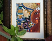 Ganesha, The Remover of Obstacles, 9X12 inch, Hand Made paper from India, Original