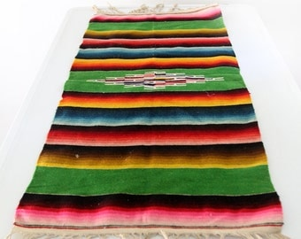 FREE SHIP Mexican serape style table runner, vintage southwestern textile
