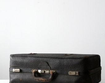 FREE SHIP  Black Leather Suitcase, Vintage Luggage