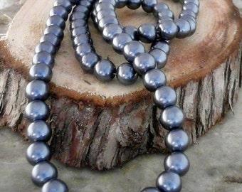 Dark Slate Gray  Pearlized 10mm Round Glass Beads                     CC-90206