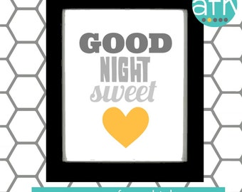 Good Night Sweet Heart  Nursery Art Print