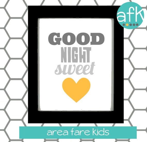 Good Night Sweet Heart  Nursery Art Print