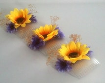Dried flower hair comb sunflowers purple flower girl dance recital photo prop Bridal party Hairpiece Woodland  Weddings summer babys breath