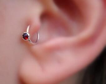 FAKE Tragus Ring - Sterling Silver Garnet - Tragus Cuff - Nose Cuff - Ear Cuff - Non Pierced - Faux Tragus Ring