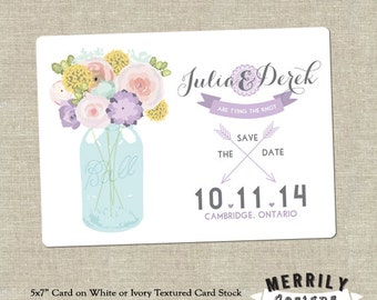 Mason Jar   Floral   Banner and Arrows Save the Date Cards