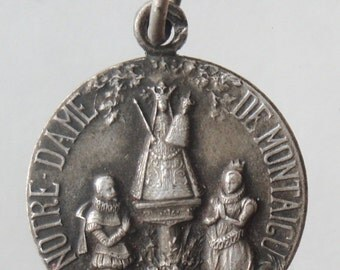 "Notre Dame of Montaigu Vintage Religious Medal Pendant on 18"" sterling silver rolo chain"