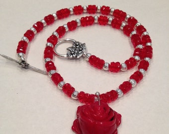 Red coral rose necklace