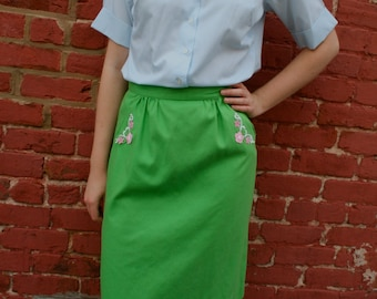 1970s Green A-line Skirt with Floral Applique
