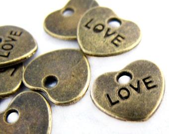 Bronze Charms : 10 Pcs Antique Bronze Heart LOVE Charms / Brass Ox Heart Pendants ... Lead, Nickel & Cadmium Free J4L