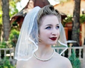Short Flyaway Wedding Veil with Satin Trim - Madonna Veil - Short Veil - Shoulder Veil -Simple Veil Damascus