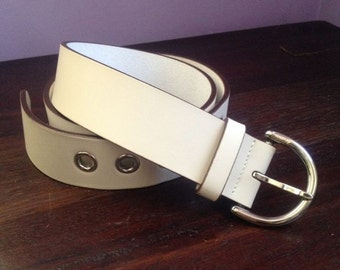 Swinging London White Mod Vintage Coach Leather Belt Made In Italy Silver Nickel Hardware Buckle