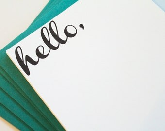 HELLO flat note cards, hello stationery, hello note card set, Hello Stationary, hello card, greeting card, modern, simple, just because card