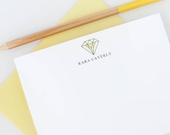 Personalized stationery // Monogram stationery // Diamond stationery // modern stationery // thank you cards // personalized note cards