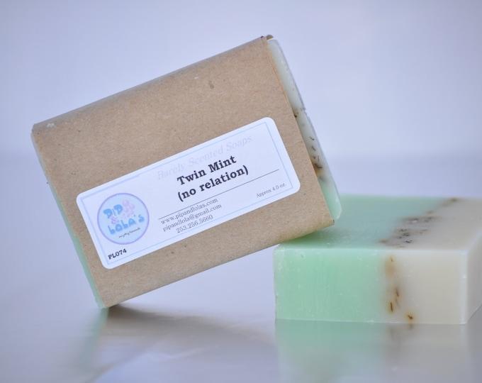 Twin Mint (no relation) Soap -- Peppermint Spearmint Soap, AllNatural Soap, Handmade Soap, Essential Oil Soap, HotProcess Soap, Vegan Soap