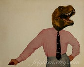 Dinosaur Art, Dino Man, Retro Art Print, Mad Men Style, Paper Collage Print, Geekery, Anthropomorphic Art