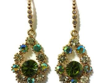 Green Gold Bridal Earrings, Swarovski Crystal Bridesmaid Earrings, Teardrop Dangle Earrings, Birthday Gift for Her, Bridesmaid Gift, OLIVE