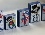 Baby name block - Personalized blocks with any name or theme - Super Hero