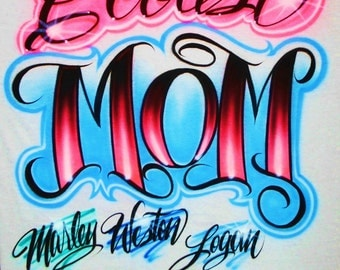 Airbrush T Shirt Coolest Mom With Up To 6 Names, Airbrush Mom Shirt, Mom Gift Shirt, Mother's Day Gift, Airbrushed Mother Shirt, Mom Gift