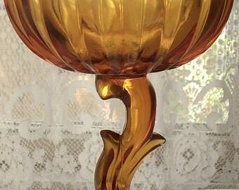 Vintage Indiana glass compote, tulip blossom,  retro decor, glass candy dish, pedestal glass bowl, antique glass bowl, flower glass