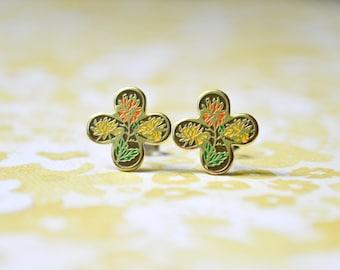 Orange & Yellow Chrysthanthemum Earrings - Clover - Flower Earrings - Vintage Cabochons - Surgical Steel Earrings - Enamel Earrings
