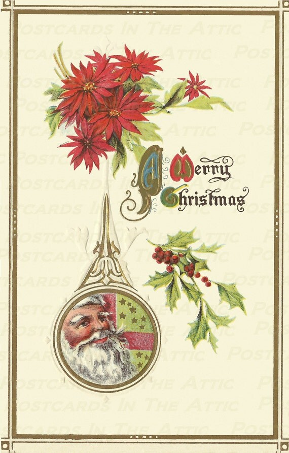 Antique Postcard Christmas Poinsettia and Santa Clause - Digital Hand Designed Art - Scrapbooking, Card Making & Crafts - PRINTABLE DOWNLOAD