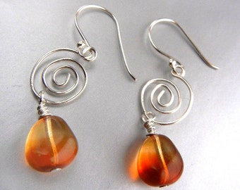 Amber orange earrings with sterling silver spirals