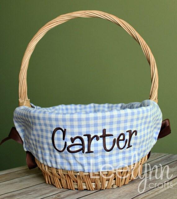 Personalized Easter Basket Liner Light Blue Gingham Plaid