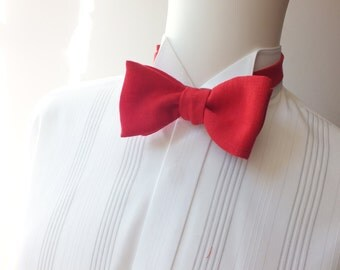 bowtie, mens, pure linen - red, freestyle, self tie, for men / adjustable bow tie : perfect for your summer wedding / groomsmen.