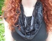 Black scarf, scarf necklace, beaded scarf, Goth, Gothic, Steampunk, Multi strand necklace scarf, black lace, black silk, multi media