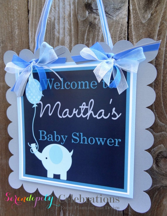 Personalized Door Sign -Grey and Blue Elephant -Party Sign -Hanging Sign-Birthday -Hospital Sign -Elephant Party -Baby Shower -Christening