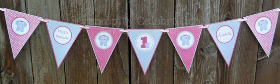 Personalized 7pc Small Pennant Banner - Pink and Grey Elephant -Chevron & Polka Dots -Dessert Table - Photo Prop -Birthday -Baby Shower