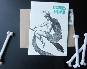 619 : Letterpress Halloween Card, Costume, Boo, Ghoul, Bat, Vampire