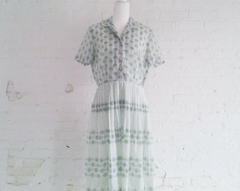 1950s Mint Green Floral Fit and Flare Day Dress 50s Vintage Forever Young Cotton Shirtdress Full Skirt Medium Large Garden Party Tea Dress