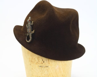 Velour Fur Felt Stingy Fedora Hat with Pillow Brim and Alligator Pin- Women Hat/Millinery/Brown Hat