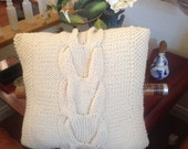 Ready-Made Knit Pillow ---------------- V CABLES in OFF WHITE  (18in)