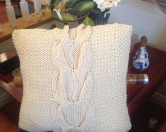Ready-Made Knit Pillow ---V CABLES in OFF WHITE  (18in)